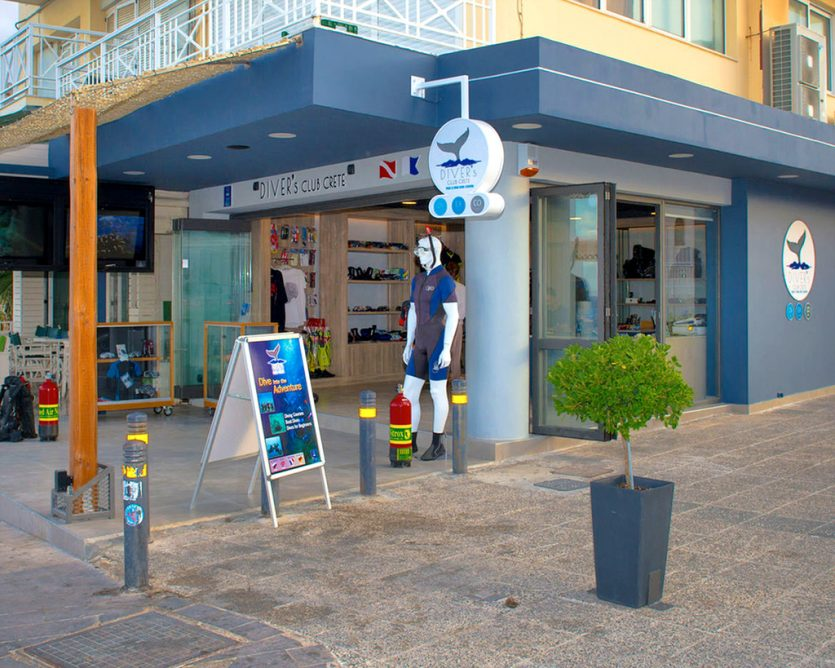 shop with diving equipment in Hersonissos Crete